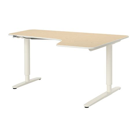bureau ajustable bekant corner desk right sit stand birch veneer white