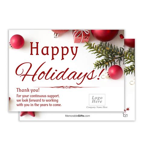 Customize holiday cards with your company message, logo, and warm wishes for your continued partnership in the new year. Holiday Wishes Corporate Holiday Card