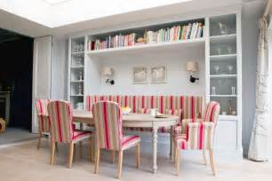 banquette seating ideas dining room scandinavian with striped seat cushions wooden dining - Kitchen Ceiling Fan Ideas