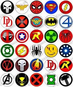 30 x Superhero Logos Party Edible Rice Wafer Paper Cupcake