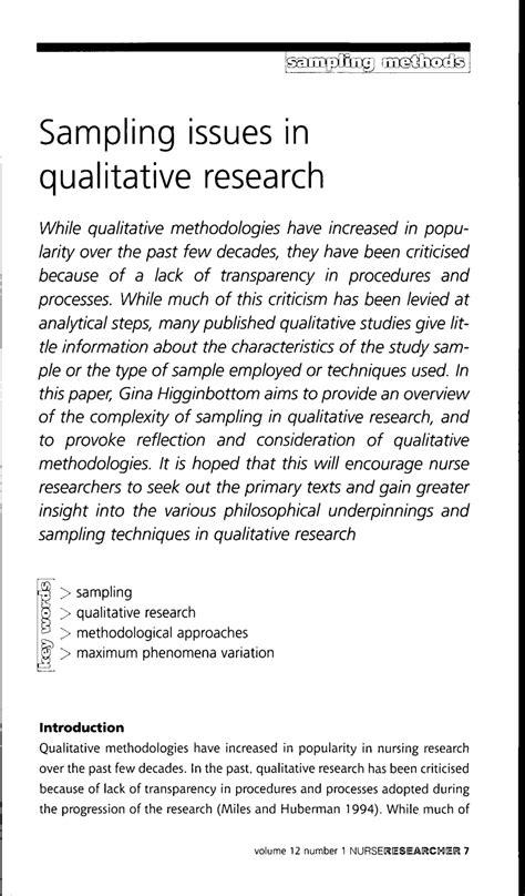 sampling issues  qualitative research