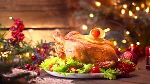 Christmas Table Setting With Turkey On Platter Stock ...