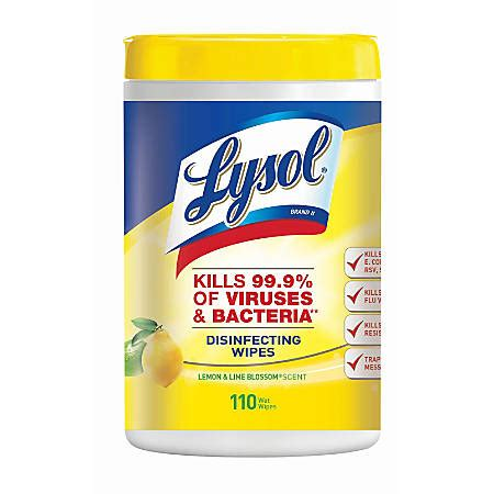 Lysol Disinfecting Wipes Lemon And Lime Blossom Scent 110