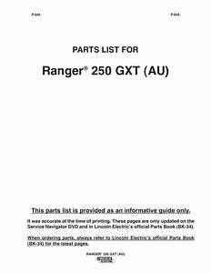 Ranger  250 Gxt  Au   Parts List For