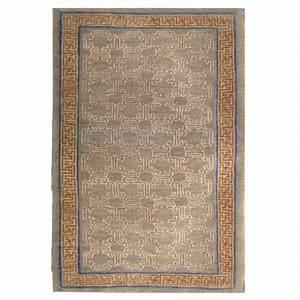 Tufenkian Transitional Tan Brown Blue Wool Rug 9261