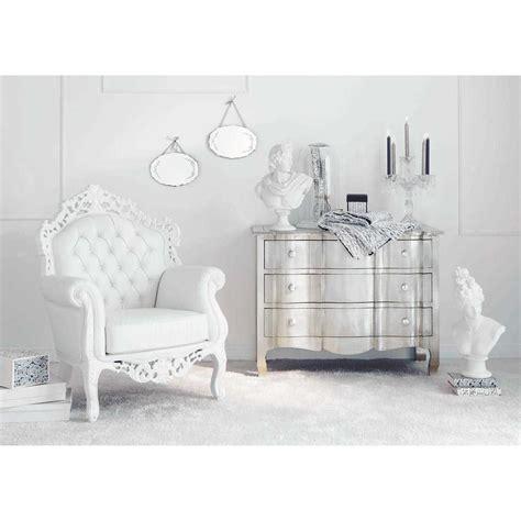fauteuil blanc capitonne barocco maison du monde home