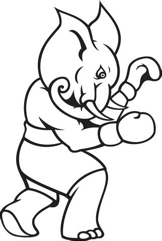 elephant boxing coloring page  printable coloring pages