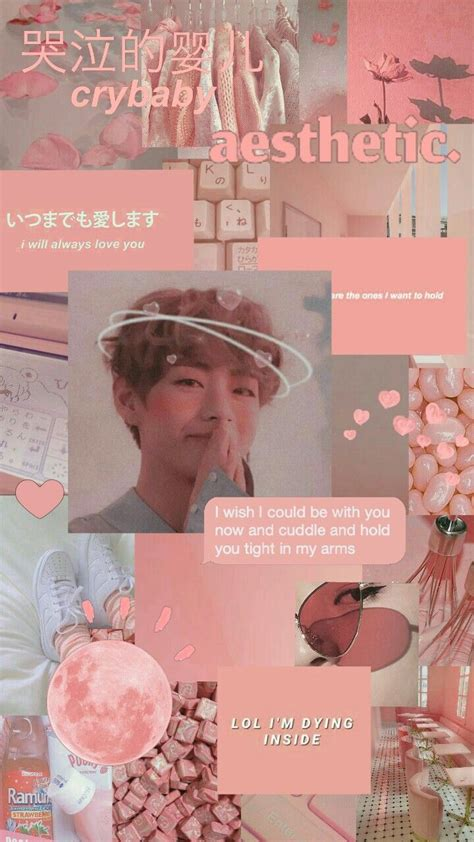 v pink collage aesthetic wallpapers bts v kpop kpop