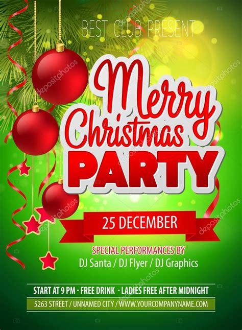 christmas party flyer vector template stock vector