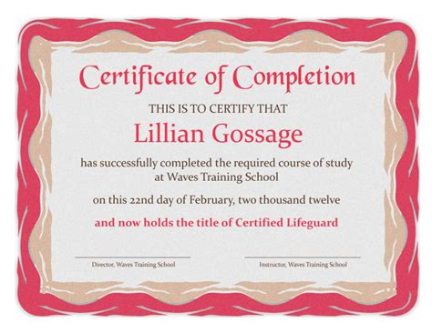 certificate  completion templates