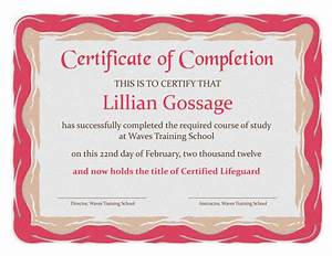 Certificates Of Appreciation Templates For Word Certificate Of Completion Templates