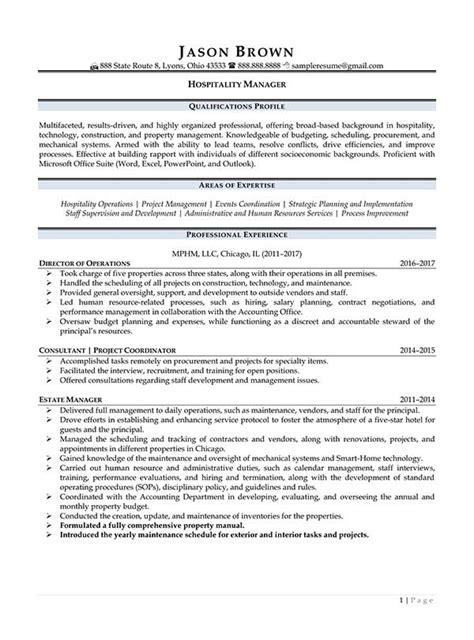 resume sles for hospitality and tourism hospitality resume exles resume professional writers