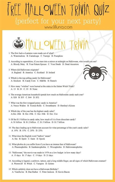 halloween trivia worksheets  games tip junkie