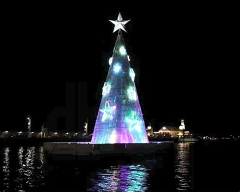 geelong floating christmas tree illuminates corio bay