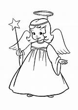 Angel Christmas Coloring Pages Angels Printable Colouring Cartoon sketch template