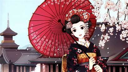 Japanese Geisha Anime Wallpapers Clipart Animation Background