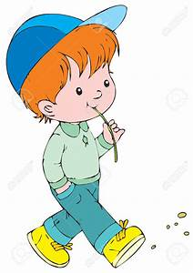 Boy Walking With Dad Clipart