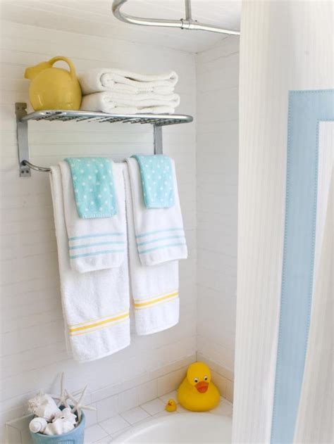 bathroom towel rack decorating ideas embellished bath towels hgtv