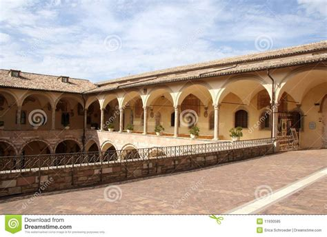 Italian Architecture Arcade  Assisi Italy Stock Image