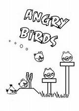 Angry Birds Coloring Pages Bird Slingshot Pigs Yellow Useful Colouring Party sketch template