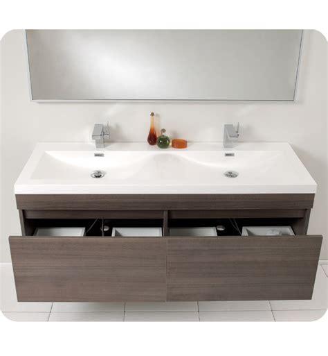 Modern Bathroom Sink Furniture by Fresca Largo Gray Oak Modern Bathroom Vanity W Wavy