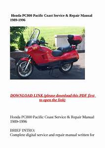 Honda Pc800 Pacific Coast Service  U0026 Repair Manual 1989