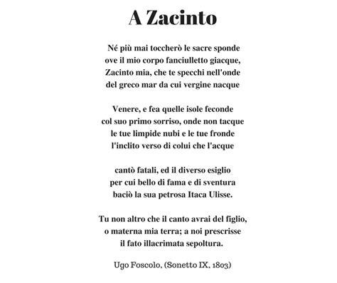 Analisi Testo Foscolo by A Zacinto Testo 28 Images Con Fareletteratura