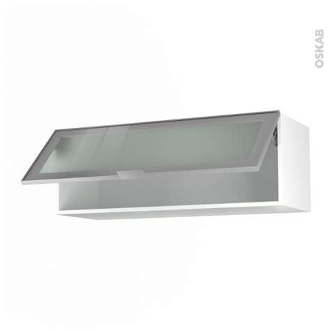 meuble haut cuisine porte coulissante meuble de cuisine haut abattant vitré façade alu 1 porte