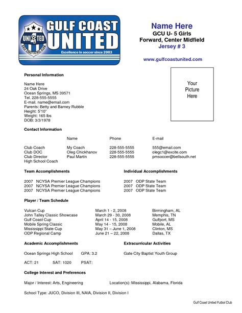 Soccer Resume Template by Sle Soccer Resume Places To Visit Resume Resume