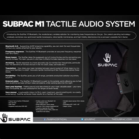 Includes a 24w dc power adaptor and 4 charging cables to enable you to charge your subpac m2x, m2 or s2 from any international or us wall outlet. SubPac S2 Seatback Tactile Bass System | SUBPAC