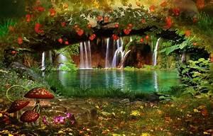 Wallpaper flowers, nature, waterfall, trees, leaves ...