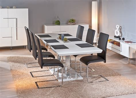 table de salle 224 manger design coloris blanc brillant