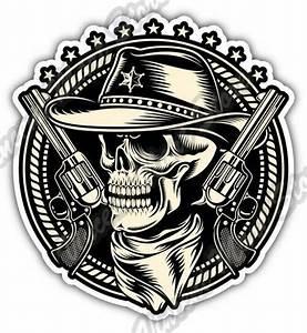 Outlaw Skull Cowboy Revolver Gun Car Bumper Window Vinyl ...
