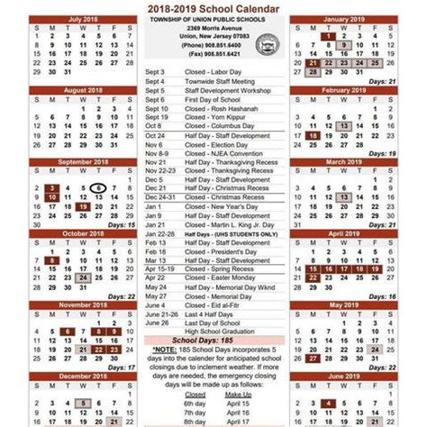 township union school calendar tapinto