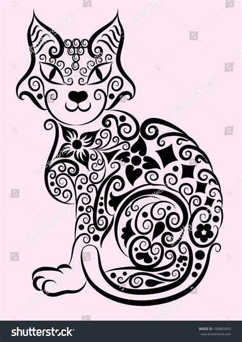 decorative flower and leaf designs decorative cat 1 cat and flora ornaments leaf flower nature decoration for tattoo design