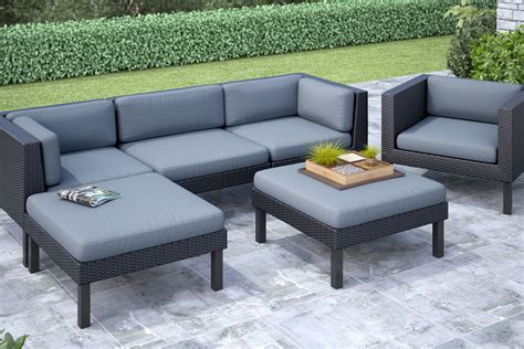 oakland 6 piece sofa with chaise lounge and chair patio set