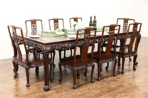 sold chinese rosewood vintage dining set table  chairs hand carved grapevine harp gallery