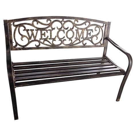 Welcome Metal 4ft Curved Back Garden Bench Antique