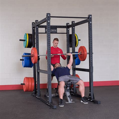 body solid extended power cage squat rack gym package  bench