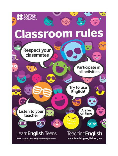teens classroom rules posters dark purple