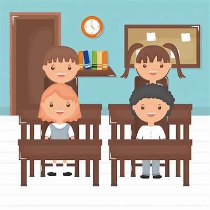 Kleine Classroom Students Animados Dibujos Clock Nette