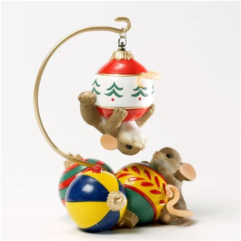mice playing on christmas ornaments charming tails