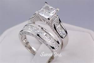 435ct princess cut wedding ring set engagement ring for Engagement wedding and eternity ring sets