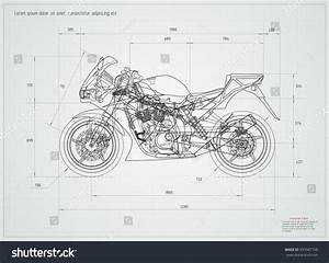 Sport Motorcycle Technical Drawing  Vector Illustration  Editable