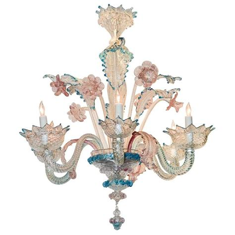 lovely antique blue and pink murano glass chandelier at