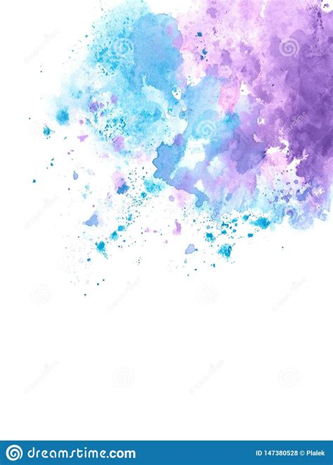 Abstract Blue And Purple Watercolor Splash On Edge Of