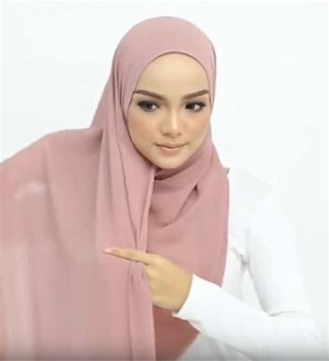 tutorial hijab pashmina simple kebaya pesta satin