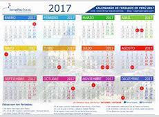 Calendario 2017 Perú con feriados Descargar en PDF y JPG