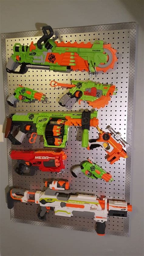 nerf gun rack nerf gun rack pegboard painted chrome with plate