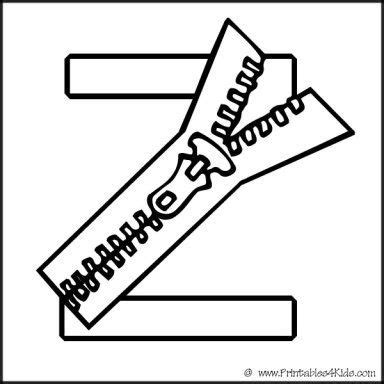 alphabet coloring page letter  zipper printables